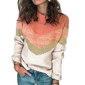 KeYIlowys NouveautéS pour L'Automne Et l'hiver, Pull en Tricot à Coutures ContrastéEs, Pull à Manches Raglan à Col Rond pour Femme