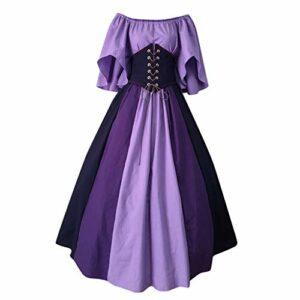 Lalaluka Robe vintage médiévale pour femme avec manches trompettes, vêtement de renaissance médiéval, robe maxi robe de reine victorienne, costume d'Halloween, carnaval, cosplay, fête, Violet, S