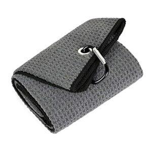 LeftSuper Microfibre pliée de Serviette de Golf d'utilisation Confortable 40x50CM avec Le Clip de Mousqueton pour Le Yoga de Sports de Golf
