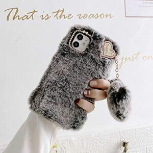 Miagon Lapin Peluche Fourrure Coque pour Samsung Galaxy S21,Kawaii Étui de Protection Hiver Chaud Souple Poilu Doux Housse Cover avec Cœur Pendentif,Gris