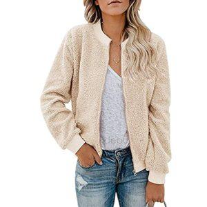 Nouveau Mode Printemps Et Automne en Peluche en Peluche Zipper Veste Manteau Top Femmes