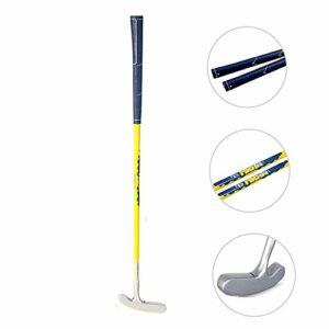 Putter de golf pour enfant à deux voies en graphite pour droitiers et gauchers, facile à utiliser pour les enfants âgés de 3 à 5 ans (tête argentée + tige jaune + poignée bleue, 63,5 cm, 3 à 5 ans)