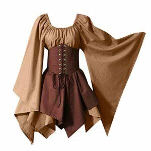Robe Gothique Renaissance Longue au medievale Bandage Halloween Femmes Costumes Cosplay rétro Robe Corset à Manches Longues Manche Chauve-Souris Pêche