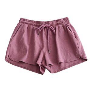 Short de Sport Taille Haute en Coton Taille élastique Short de Sport de Plage Respirant Confortable et Absorbant la Transpiration