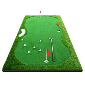 SHRHZJ Tapis de Golf Portable pour l?Entraînement,Tapis Golf, Tapis De Putting De Golf,Golf Tapis d'entrainement Putting Trainer,Comes with 1 Putter /3 Flags/1 Pad De Pente (2 * 4m/6.56 * 13.12ft)