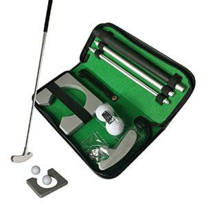 stallry 1 ensemble de putter de golf portable avec trou de balle pour entraînement de golf en intérieur, 1 putter 2 balles, 1 tasse de golf et 1 sac de rangement