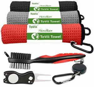 ToVii Lot de serviettes de golf pour sacs de golf avec clip – Outils de réparation pour clubs de golf – Cadeau pour homme et femme – Rouge