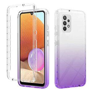 TYWZ Étui Transparente Housse pour Samsung Galaxy A32 4G,Gradient TPU et Dur PC Coussin d'air Anti-Rayures Antichoc Protection Coque-Violet
