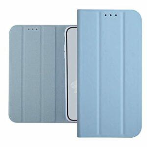 TYWZ Trifold Portefeuille Coque pour iPhone 12,Housse Etui en PU Cuir Flip Case avec Caché Magnétique Stand Fonction Protection Antichoc Cover-Léger Bleu