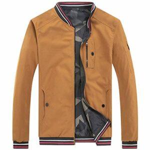 Veste Bomber Homme Automne Hiver Mode Décontractée Pure Color Jacket Zipper Outwear Camo Jacket