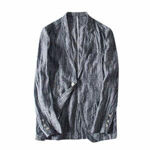 Veste Slim Fit Camo pour Homme Veste en Lin Mélangé avec Poches À Rayures Et À Manches Longues Blazer