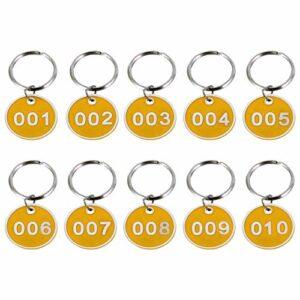 VOSAREA Lot de 10 porte-clés ronds avec numéro d'identification 1 à 10 étiquettes pour bagages pour clés de dortoir, maison, casiers de verrouillage Jaune