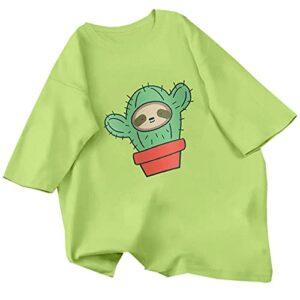 WJJKSLAOQ Skateboard Grenouille Dinosaure Motif Mignon T-Shirt Femme T-Shirt Vert Beau T-Shirt Surdimensionné Haut D'éTé DéContracté