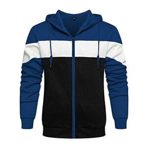 WXZZ Veste de survêtement pour homme avec fermeture éclair et capuche, couleurs assorties, sweatshirt sport Outwear Casual Tops avec poche Hoodie Zipper Patchwork Polaire Pullover, Bleu1, S