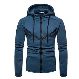 WXZZ Zipper Veste à capuche en tricot pour homme Coupe ajustée Patchwork Workerhoodie à manches longues Veste à capuche avec fermeture éclair Male Sweat doux et confortable, bleu, M
