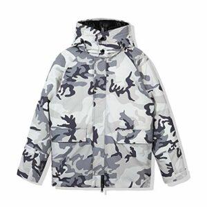 XYZMDJ Camouflage Manteaux Down Hommes Nouveau manteau à capuche Mens Hiver Jacket Streetwear Puffer Veste Hommes Blanc Débutant Down Vêtements (Color : Gray, Size : Large)