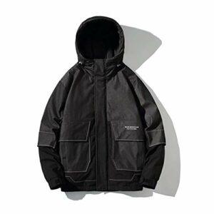 XYZMDJ Men's Stand Cola Parka Hommes Chaud Hiver Nouveau manteau Hommes Épaissement Zipper Fashion Parka (Color : Black, Size : XXXXXXL-Large)