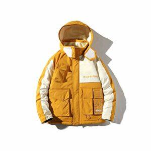 XYZMDJ Patchwork Pocket Homme Hommes Hiver Down Veste régulière 90% Blanc Duck Down Down Tour Chaud Casual Down Coat (Color : Orange, Size : Medium)