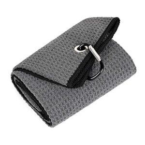 Yixikejiyouxian Utilisation Confortable 40x50CM Serviette de Golf pliée en Microfibre avec Mousqueton pour Sport de Golf Running Yoga – Gris 40x50Cm