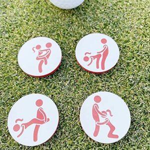 Yizemay Marqueurs de Balles de Golf, Marqueurs de Golf Faits à la Main Ensemble d'humour Adulte de 4 Accessoires de Marqueurs Faits à la Main pour Balles de Golf