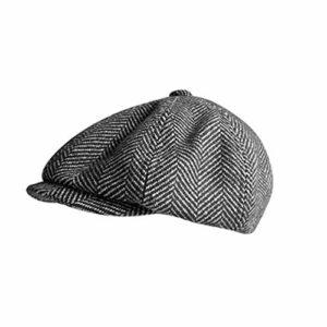 YTO Bonnet octogonal Haut de Gamme pour Hommes Automne et Hiver, Drap de Laine à Chevrons pour Garder au Chaud Bonnet Britannique, béret rétro